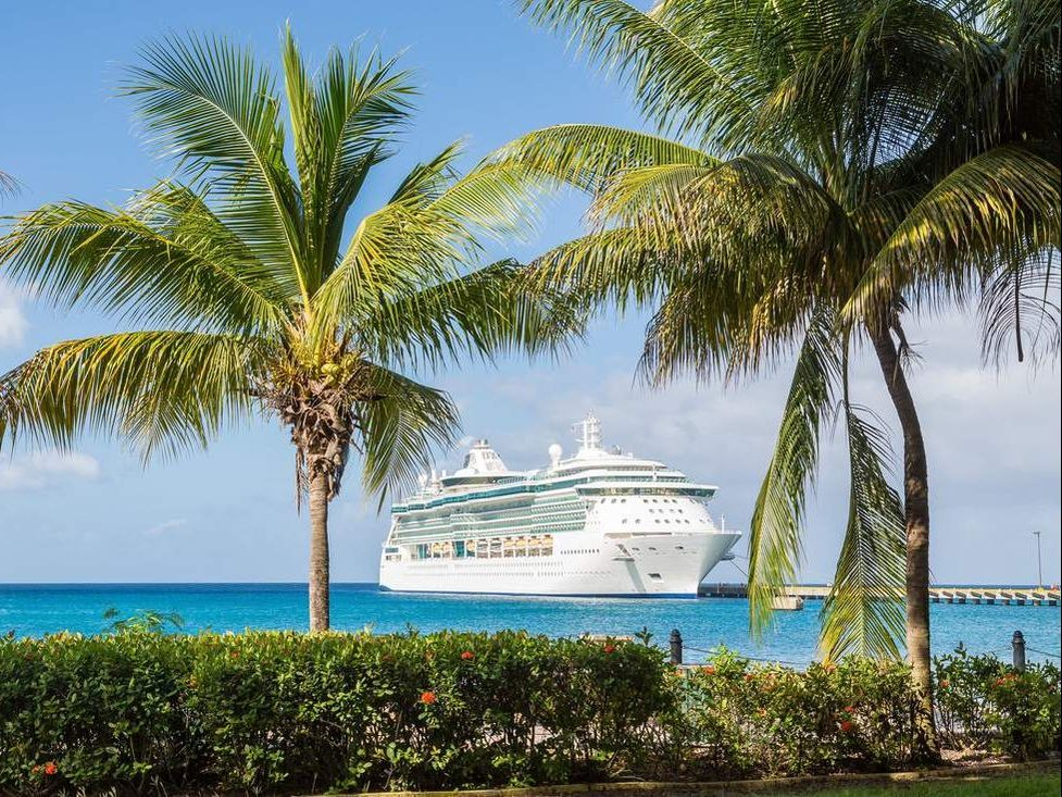 Large cruise line docked as beach port